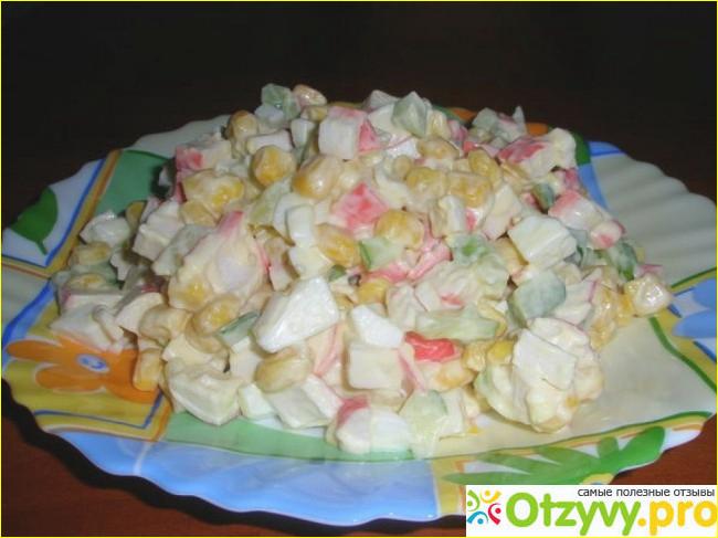 Салат с крабовых палочек и кукурузы