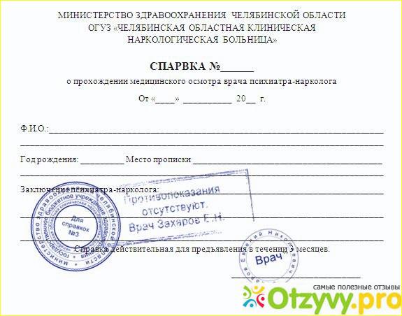 Справка от нарколога и психиатра для водительских прав Щёлково