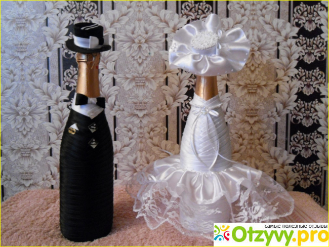 Декор на бутылку шампанского к свадьбе