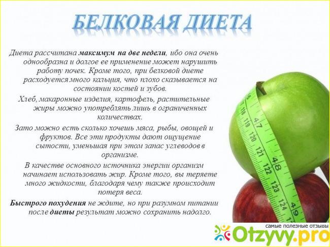белковая диета меню для похудения отзывы