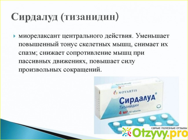 Сирдалуд таблетки: инструкция по применению, цена, для чего назначают.
